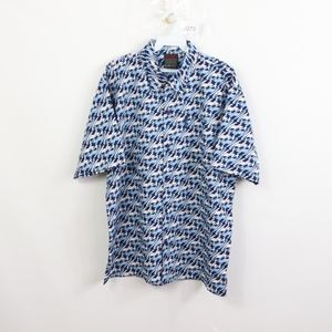 90s Fubu Mens XL Spell Out All Over Print Shirt